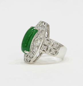 "GIA Certified Imperial Green ""A"" Jadeite Jade Art Deco Diamond 18K Gold Ring - alpha-omega-jewelry"