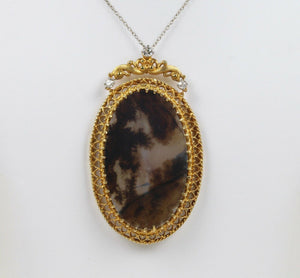 Victorian Dendritic Moss Agate and 0.5 Carat Diamond 14K Gold Pendant Necklace - alpha-omega-jewelry