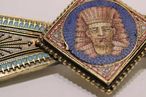 Egyptian Revival Micro Mosaic Pharaoh 14K Gold Brooch - alpha-omega-jewelry