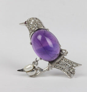 Amethyst and Diamond 14K Gold Mother and Baby Bird Brooch Pin - alpha-omega-jewelry