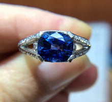 Load image into Gallery viewer, GIA Certified Midcentury 2.2 Carat Sapphire, Diamond East to West Platinum Ring - alpha-omega-jewelry