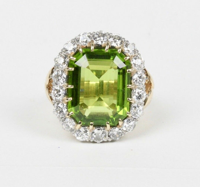 Midcentury 21 Carat Peridot and 4 Carat Diamond Gold Platinum Cocktail Ring - alpha-omega-jewelry