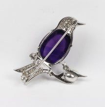 Load image into Gallery viewer, Amethyst and Diamond 14K Gold Mother and Baby Bird Brooch Pin - alpha-omega-jewelry