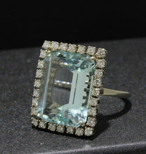 Load image into Gallery viewer, Large 15 Carat Aquamarine and 1.15 Carat Diamond Statement Ring - alpha-omega-jewelry