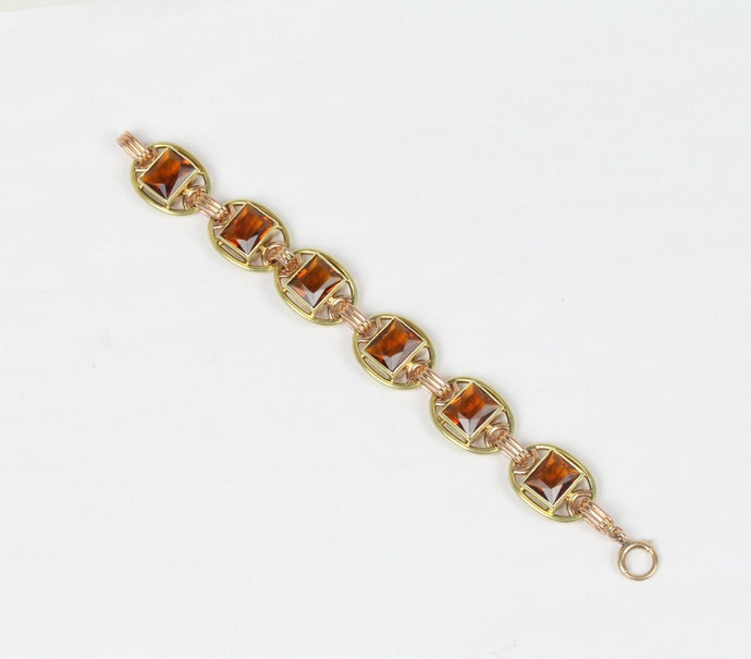 "Midcentury 30 Carats Madeira ""Honey"" Citrine 14K Yellow and Rose Gold Bracelet - alpha-omega-jewelry"
