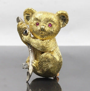 Vintage 18K Gold Koala Bear Ruby and Diamond Brooch Pin - alpha-omega-jewelry