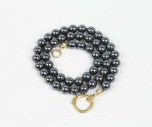 Load image into Gallery viewer, Heavy Hematite Beaded and 18K Gold Necklace - alpha-omega-jewelry