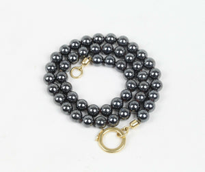 Heavy Hematite Beaded and 18K Gold Necklace - alpha-omega-jewelry