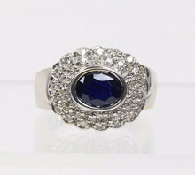 Load image into Gallery viewer, Dark Blue Sapphire and Diamond 14K Gold Cocktail Cluster Ring - alpha-omega-jewelry