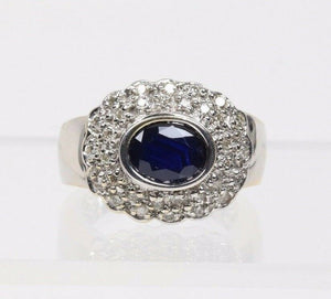 Dark Blue Sapphire and Diamond 14K Gold Cocktail Cluster Ring - alpha-omega-jewelry