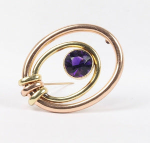 Vintage Amethyst and 14K Two Tone Gold Brooch Clip - alpha-omega-jewelry