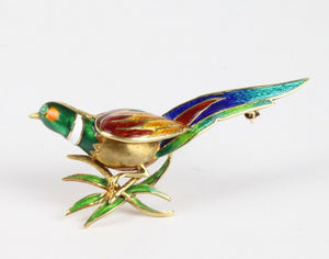 Vintage French 18K Gold and Enamel Pheasant Bird Brooch Pin - alpha-omega-jewelry