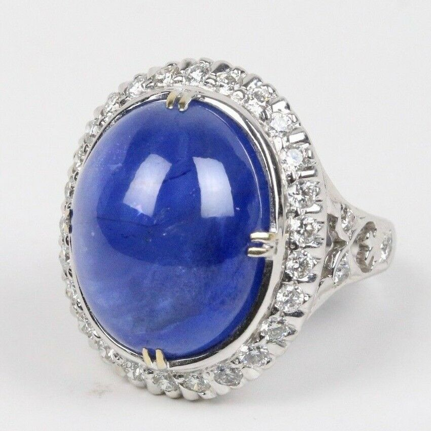 27 Carat Cabochon Sapphire 1.6 Carat Diamond 18K Gold Cocktail Statement Ring - alpha-omega-jewelry