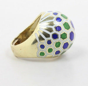 Vintage Blue Green and White Honeycomb Enamel 14K Gold Dome Ring - alpha-omega-jewelry
