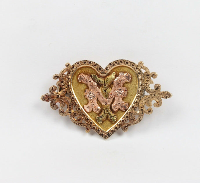"Victorian 14K Yellow and Rose Gold Monogram ""MI"" ""IM"" Heart Pin Brooch - alpha-omega-jewelry"