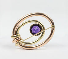 Load image into Gallery viewer, Vintage Amethyst and 14K Two Tone Gold Brooch Clip - alpha-omega-jewelry