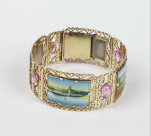 Load image into Gallery viewer, Midcentury Enameled Panel Paris Cityscapes Scenery 14K Gold Pink Topaz Bracelet - alpha-omega-jewelry