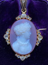 Load image into Gallery viewer, French Victorian 18K Gold and 1.76 Carat Diamond Hardstone Cameo Brooch and Pendant
