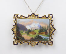 Load image into Gallery viewer, Victorian Swiss Enamel Painted Landscape Scene 18K Gold Pendant Brooch - alpha-omega-jewelry