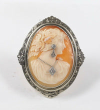 Load image into Gallery viewer, Vintage Carved Shell Cameo of Lady Wearing Jewelry 14K Gold and Diamond Brooch - alpha-omega-jewelry