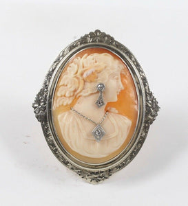 Vintage Carved Shell Cameo of Lady Wearing Jewelry 14K Gold and Diamond Brooch - alpha-omega-jewelry
