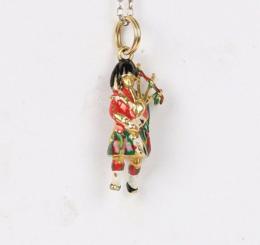 Vintage 9K Gold English or Scots Guard Enamel Charm Pendant - alpha-omega-jewelry