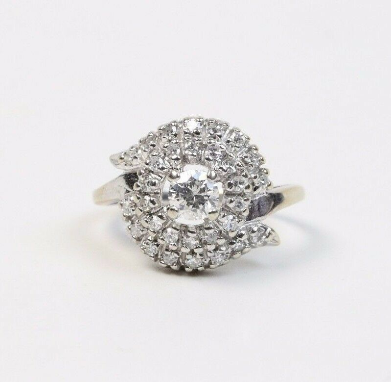 Vintage Diamond Cluster 14K White Gold Cocktail Engagement Ring - alpha-omega-jewelry