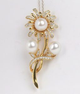 Vintage Daisy Flower 12.5 MM South Sea Pearl and Diamond 18K Gold Brooch Pin - alpha-omega-jewelry