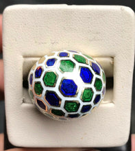 Load image into Gallery viewer, Vintage Blue Green and White Honeycomb Enamel 14K Gold Dome Ring - alpha-omega-jewelry