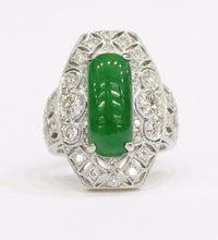"Load image into Gallery viewer, GIA Certified Imperial Green ""A"" Jadeite Jade Art Deco Diamond 18K Gold Ring - alpha-omega-jewelry"