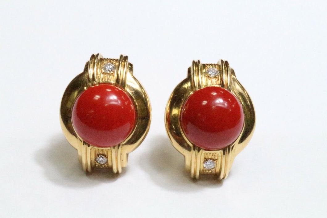 Vintage 1980s Deep Red Coral and Diamond Heavy 18K Gold Clip Earrings - alpha-omega-jewelry