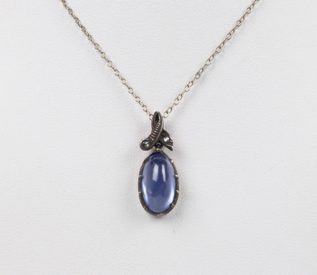 Victorian Natural Sapphire and Rose Cut Diamond Silver Gold Conversion Pendant - alpha-omega-jewelry
