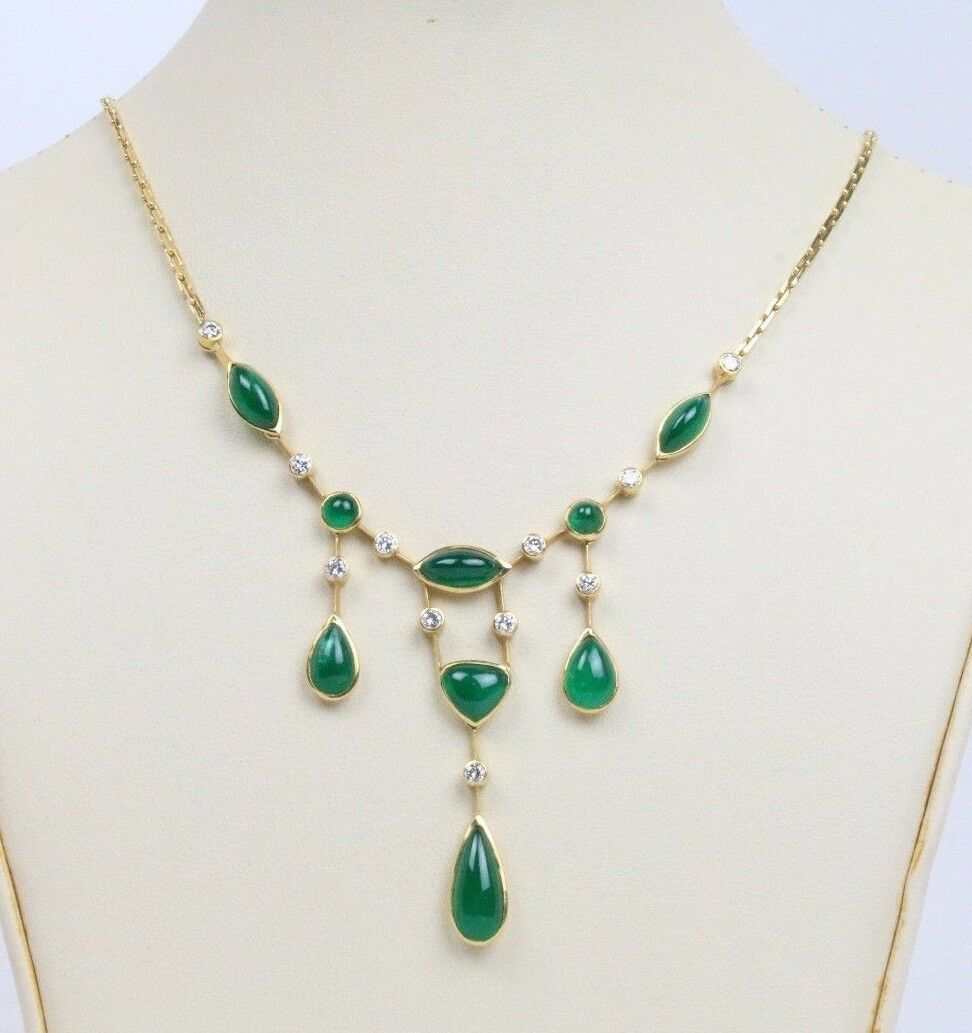 Vintage Certified Cabochon 5 Carats Emerald Diamond and 18K Gold Dangle Drop Nec - alpha-omega-jewelry