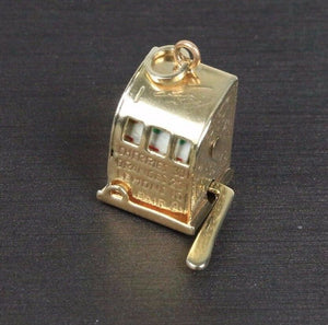 Vintage 14K Gold Spinning Slot Machine Game Charm Pendant - alpha-omega-jewelry