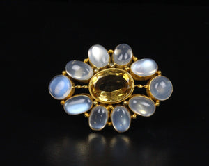 Vintage Moonstone and Citrine 14K Gold Cluster Brooch Pin - alpha-omega-jewelry