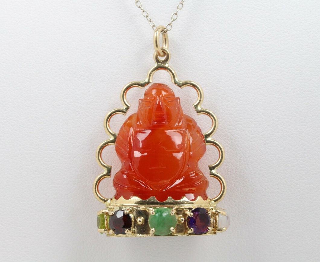 Large Vintage Carved Agate 14K Gold Semiprecious Stone Buddha Charm - alpha-omega-jewelry