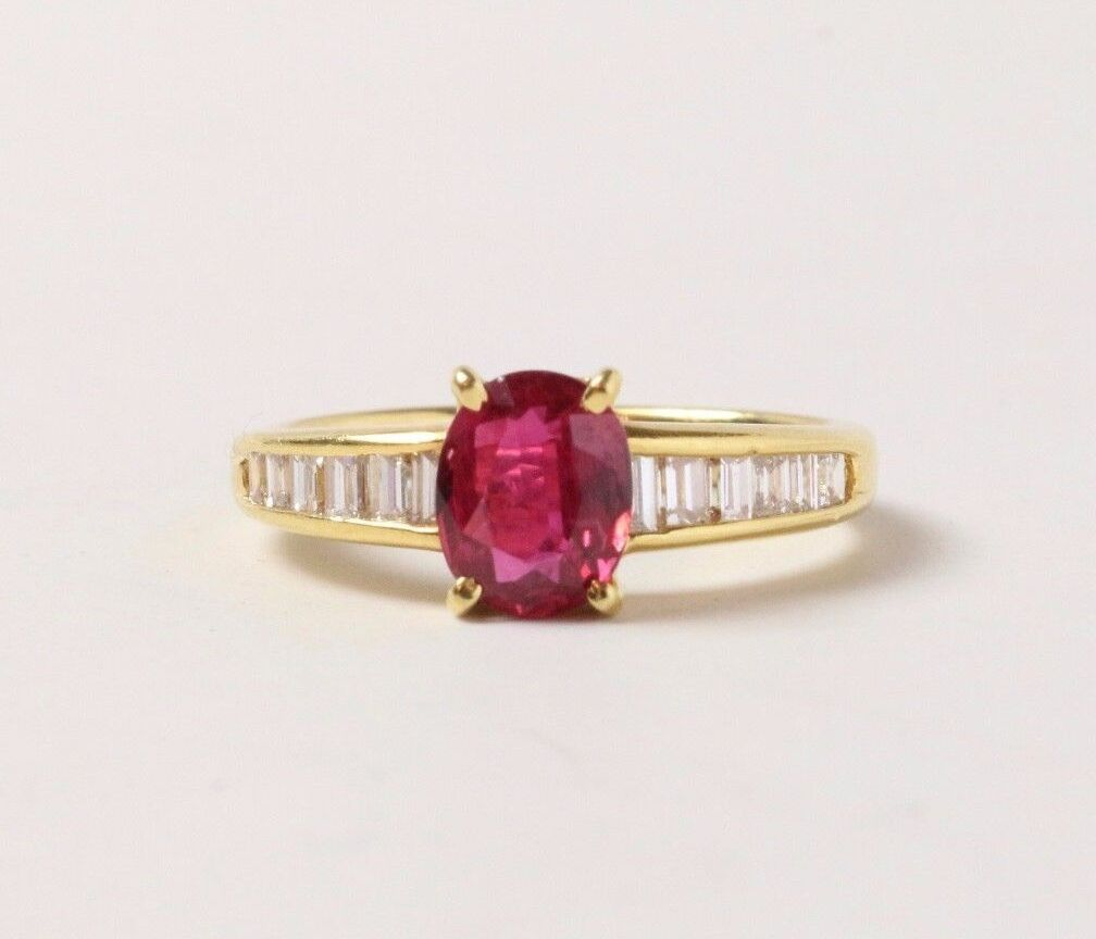GIA Certified Ruby and Diamond Baguette 18K Gold Alternative Engagement Ring - alpha-omega-jewelry