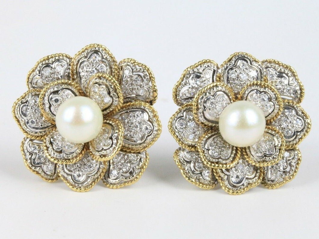 Platinum 18K Gold Pearl and 1.5 Carat Diamond Flower Cluster Clip Earrings - alpha-omega-jewelry