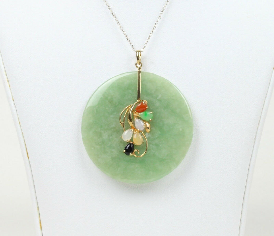 Large Statement Vintage Green Jade Disc and 14K Gold Pendant - alpha-omega-jewelry
