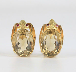 Large Vintage 18K Gold and Citrine Beetle Bug Italian Clip Earrings - alpha-omega-jewelry