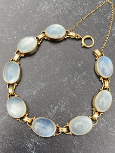 Vintage 14K Gold and Silvery Moonstone Bracelet