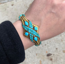 Load image into Gallery viewer, Victorian Natural Turquoise and 14K Gold Crossover Snake Bracelet