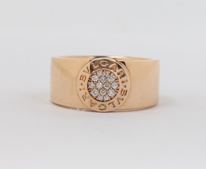 Bvlgari Logo 18K Rose Gold and Diamond Cigar Band Ring