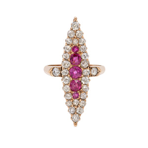 Victorian 1.26 Carat Diamond and Natural Ruby 14K Gold Navette Ring