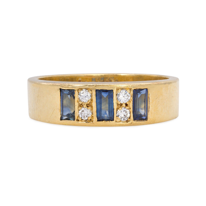 Vintage Tiffany & Co 18K Gold Sapphire and Diamond Band, Stacking Ring