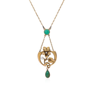 Art Nouveau 14K Gold and Chrysoprase Floral Lavalier Necklace