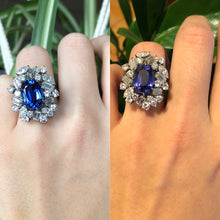 Load image into Gallery viewer, Rare 7.8 Carat GIA Certified No Heat Color Change Sapphire and Diamond 14K Gold Cocktail Ring - alpha-omega-jewelry
