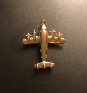 Vintage 14K Gold Articulated Spinning Airplane Travel Charm