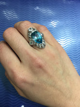 Load image into Gallery viewer, Edwardian GIA 9 Carat Blue Zircon and 1.3 Carat Diamond Platinum Navette Ring - alpha-omega-jewelry