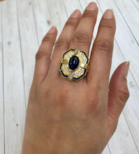 Load image into Gallery viewer, Vintage Sapphire and Diamond 18K Gold Rectangular Statement Cocktail Ring - alpha-omega-jewelry
